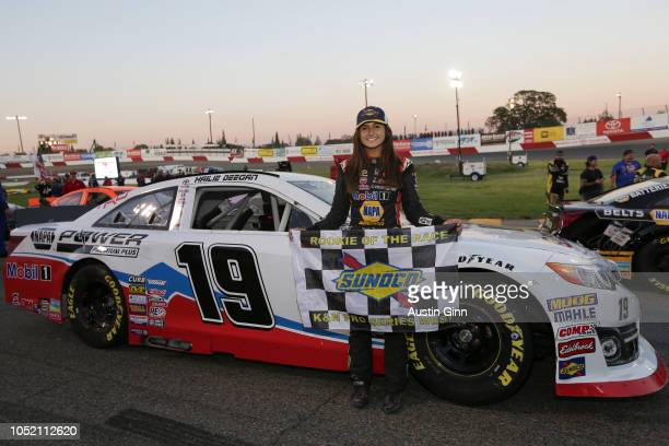 Hailie Deegan driver of the Mobil 1/NAPA Power Premium Plus Toyota poses during the NASCAR KN Pro Series West NAPA AutoCare/Roseville Toyota 200 at...