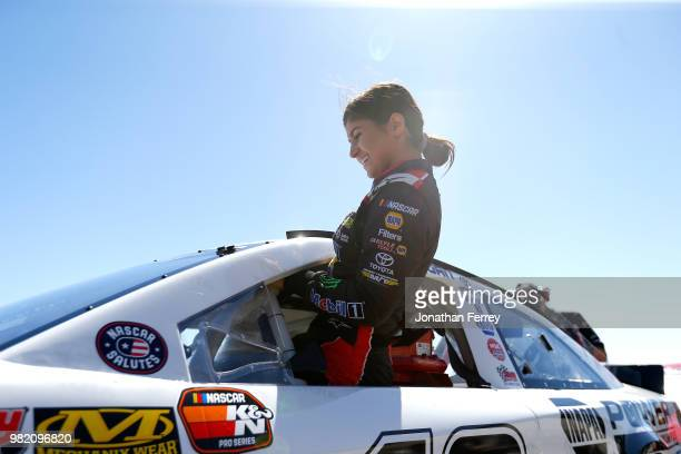 Hailie Deegan driver of the Mobil 1/NAPA Power Premium Plus Toyota prepares to drive during qualifying for the NASCAR KN Pro Series West Carneros 200...