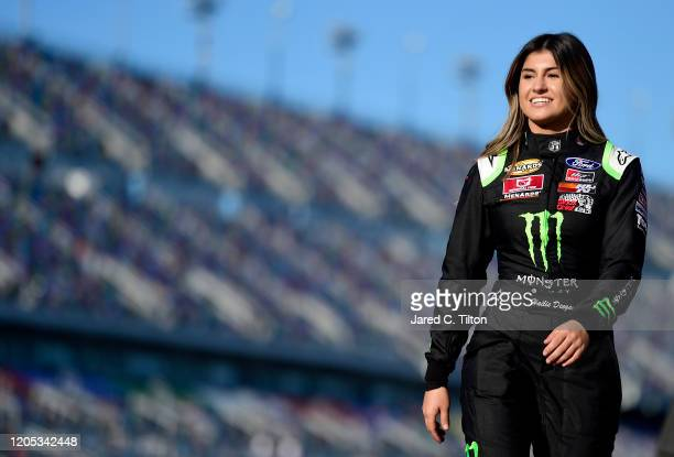 Hailie Deegan driver of the Monster Energy Ford is introduced prior to the ARCA Menards Series Lucas Oil 200 Driven by General Tire at Daytona...