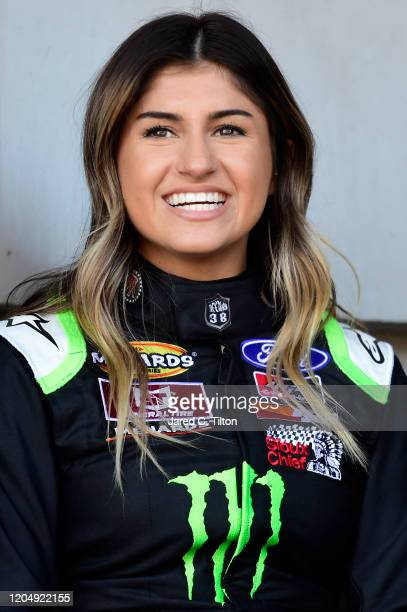Hailie Deegan driver of the Monster Energy Ford looks on prior to the ARCA Menards Series Lucas Oil 200 Driven by General Tire at Daytona...