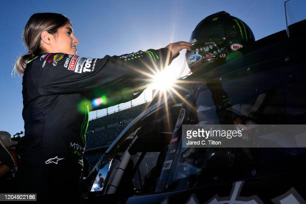 Hailie Deegan driver of the Monster Energy Ford prepares for the ARCA Menards Series Lucas Oil 200 Driven by General Tire at Daytona International...