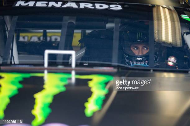 Hailie Deegan driver of the Monster Energy Ford sits in her car before practice for the Lucas Oil 200 Driven by General Tire on February 7 2020 at...