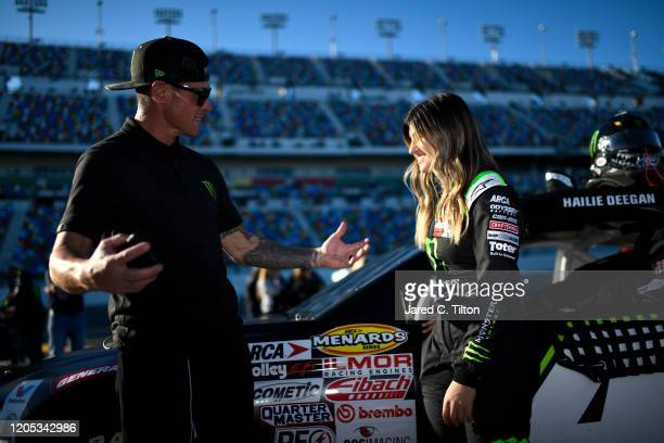 Hailie Deegan driver of the Monster Energy Ford speaks with her father Brian on the grid prior to the ARCA Menards Series Lucas Oil 200 Driven by...