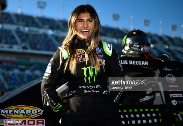Hailie Deegan driver of the Monster Energy Ford stands on the grid prior to the ARCA Menards Series Lucas Oil 200 Driven by General Tire at Daytona...