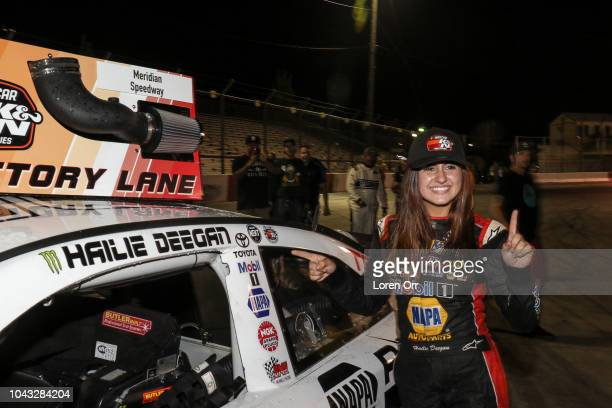 Hailie Deegan driver of the NAPA Power Premium Plus Toyota applies her victory sticker at the conclusion of the NASCAR KN Series West NAPA Auto Parts...