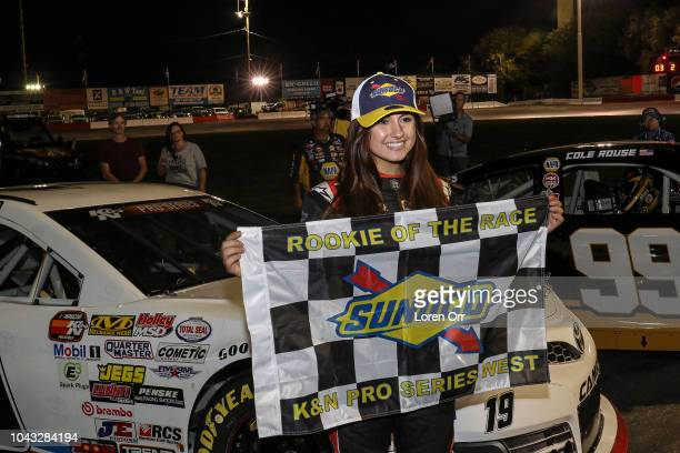 Hailie Deegan driver of the NAPA Power Premium Plus Toyota is awarded the Rookie of the Year award prior to the start of the NASCAR KN Series West...