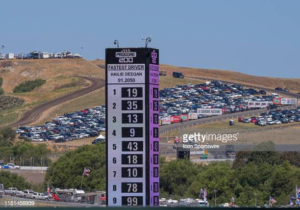 Hailie Deegan driver of the NAPA Power Premium Plus Toyota / Monster posts a fast time during the NASCAR KN Pro Series West Qualifying on Saturday...