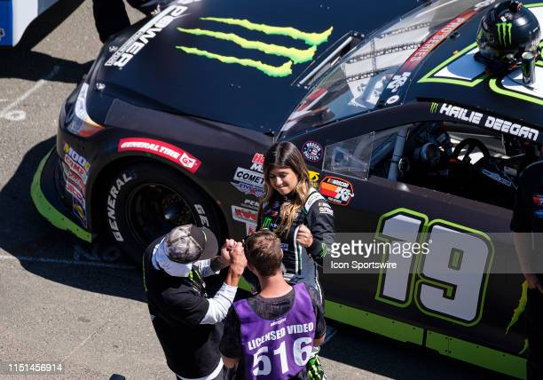Hailie Deegan driver of the NAPA Power Premium Plus Toyota / Monster jokes with the camera crew before the NASCAR KN Pro Series West Qualifying on...