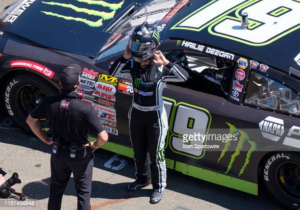 Hailie Deegan driver of the NAPA Power Premium Plus Toyota / Monster gets her helmet on before the NASCAR KN Pro Series West Qualifying on Saturday...