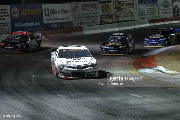 Hailie Deegan driver of the NAPA Power Premium Plus Toyota takes the lead during the NASCAR KN Series West NAPA Auto Parts Idaho 208 at Meridian...