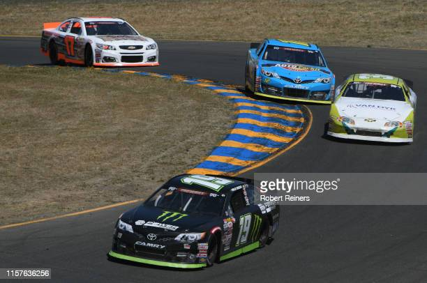 Hailie Deegan driver of the NAPA Power Premium Plus/Monster Toyota leads a group of cars during the KN Pro Series West Procore 200 at Sonoma Raceway...