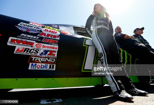 Hailie Deegan driver of the NAPA Power Premium Plus/Monster Toyota stands on the grid during qualifying for the KN Pro Series West Procore 200 at...