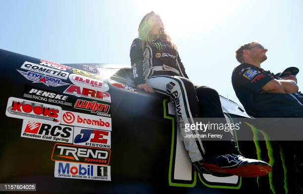 Hailie Deegan driver of the NAPA Power Premium Plus/Monster Toyota looks on during qualifying for the KN Pro Series West Procore 200 at Sonoma...