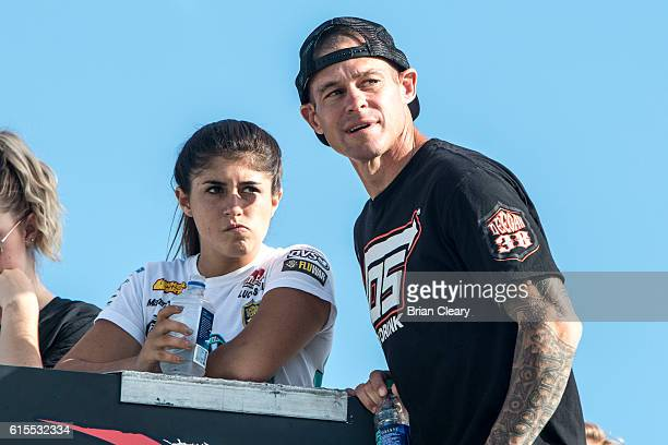 Hailie Deegan L talks to her father at the NASCAR Drive for Diversity Developmental Program at New Smyrna Speedway on October 18 2016 in New Smyrna...