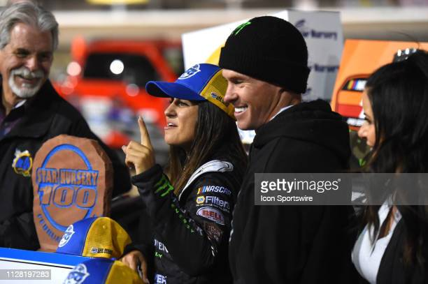 Hailie Deegan NASCAR KN Pro West Series Toyota Camry celebrates the victory with her father Brian Deegan during the NASCAR KN Pro Series West Star...