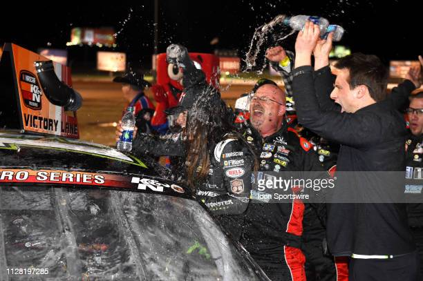Hailie Deegan NASCAR KN Pro West Series Toyota Camry celebrates the victory during the NASCAR KN Pro Series West Star Nursery 100 ON February 28 at...