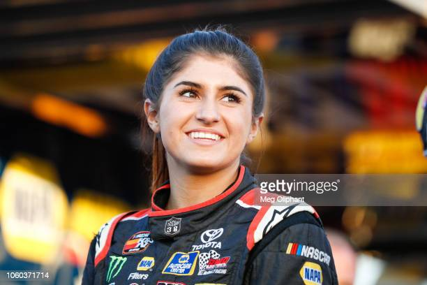 Hailie Deegan speaks with media ahead of her race at Kern County Raceway Park on October 27 2018 in Bakersfield California