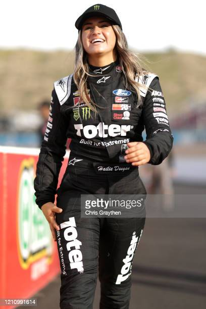 Hailie Deegan stands on the grid at Phoenix Raceway on March 06 2020 in Avondale Arizona