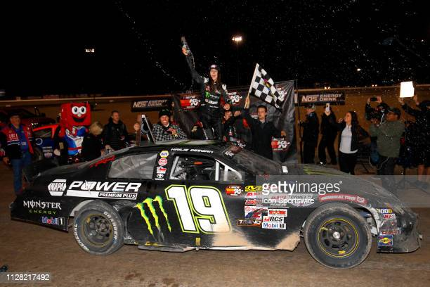 Hailie Deegan Toyota Camry celebrates in victory lane after winning the Star Nursery 100 NASCAR KN Pro Series West race on February 28 2019 at The...