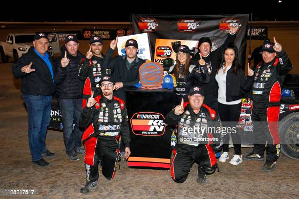 Hailie Deegan Toyota Camry celebrates in victory lane with her crew and family after winning the Star Nursery 100 NASCAR KN Pro Series West race on...