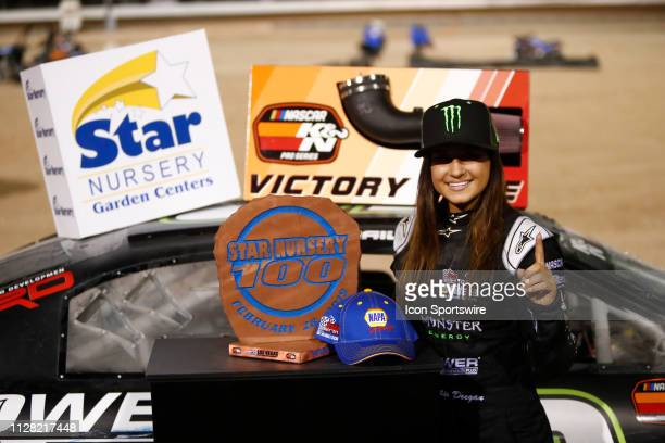 Hailie Deegan Toyota Camry poses for a photo in victory lane after winning the Star Nursery 100 NASCAR KN Pro Series West race on February 28 2019 at...