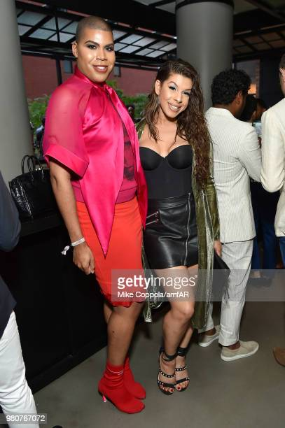 Hailie Sahar and EJ Johnson attends the amfAR GenCure Solstice 2018 on June 21 2018 in New York City