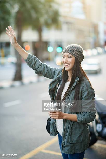 Hailing a cab in the city