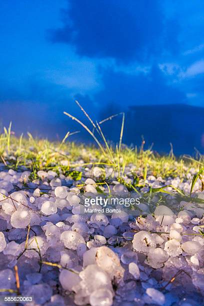Hailstones covered a field after a hailstorm