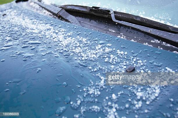 hailstones melting on car hood - hail stock pictures, royalty-free photos & images