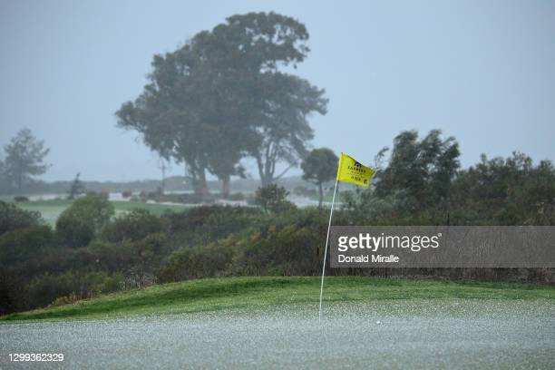 Hailstorm hits the course during round two of the Farmers Insurance Open at Torrey Pines on January 29, 2021 in San Diego, California.