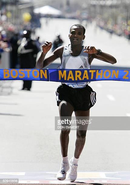 Hailu Negussie of Ethiopia crosses the finish line to win the 109th Boston Marathon 18 April 2005 Negussie won in 2hr 11min 45sec ahead of Kenyans...