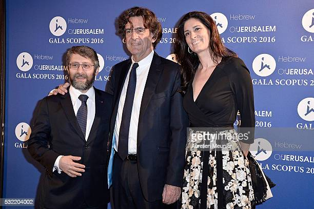 Haim Korsia Luc Ferry and MarieCaroline Becq de Fouquieres attend the Scopus gala photocall at Pavillon Vendome on May 18 2016 in Paris France