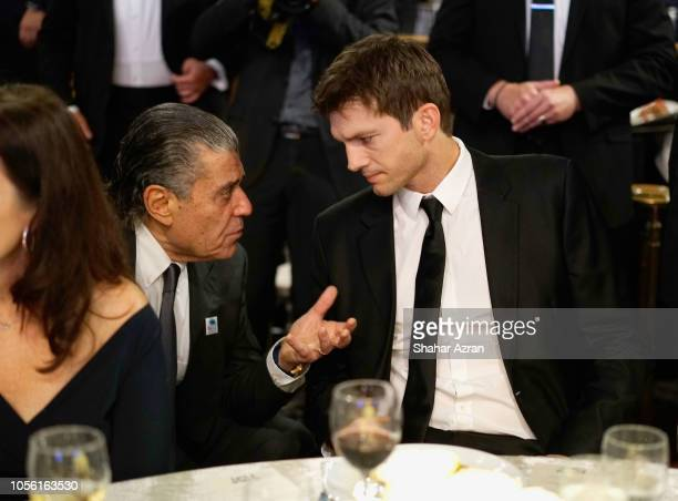 Haim Saban and Ashton Kutcher attend Friends of The Israel Defense Forces Western Region Gala at The Beverly Hilton Hotel on November 1 2018 in...