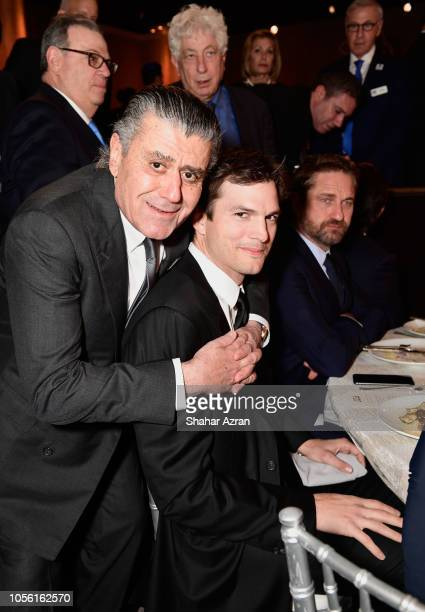 Haim Saban Ashton Kutcher and Gerard Butler attend Friends of The Israel Defense Forces Western Region Gala at The Beverly Hilton Hotel on November 1...