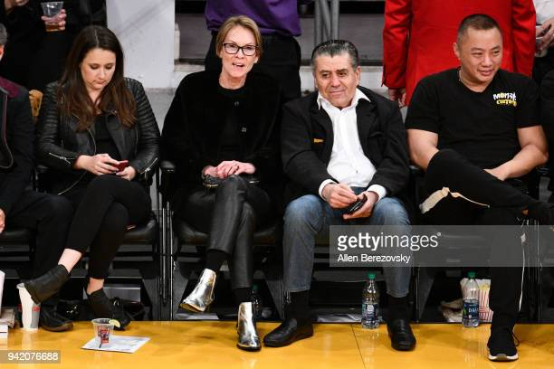 Haim Saban attends a basketball game between the Los Angeles Lakers and the San Antonio Spurs at Staples Center on April 4 2018 in Los Angeles...