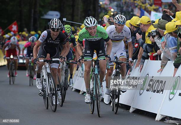 Haimar Zubeldia of Spain and Trek Factory Racing Bauke Mollema of The Netherlands and the Belkin Pro Cycling Team and Rui Costa of Portugal and...