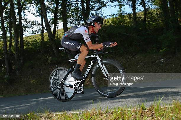 Haimar Zubeldia of Spain and Trek Factory Racing competes in the individual time trial during the twentieth stage of the 2014 Tour de France a 54km...