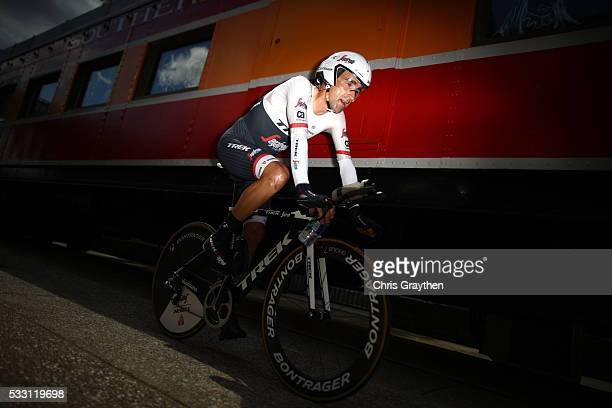 Haimar Zubeldia of Spain riding for Team TrekSegafredo rides to his team area following the stage six individual time trial of the Amgen Tour of...