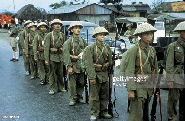 Haiphong Communist troops waiting for the French troops to depart 19541955 Vietnam War in Indochina National Archives Washington