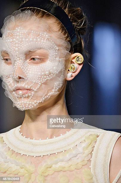 Hair and Beauty detail on the runway at the Givenchy Spring Summer 2016 fashion show during New York Fashion Week on September 11, 2015 in New York,...