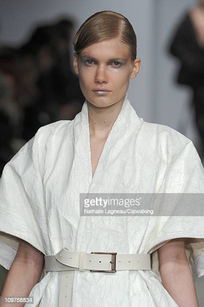 Hair and beauty detail on the runway at the Josephus Thimister fashion show during Paris Fashion Week on March 1 2011 in Paris France