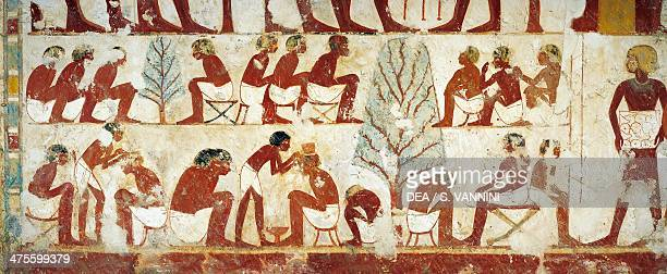 Hair cutting of recruits digital reconstruction of a fresco in the entrance hall of the Tomb of Userhat royal scribe in the time of Amenhotep II also...