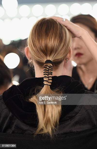 Hair detail backstage at the JD Fashion Runway Show at Pier 59 Studios on February 17 2016 in New York City