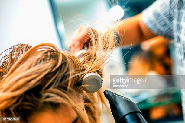 hair dresser in a salon - john nollet hairdresser stock photos and pictures