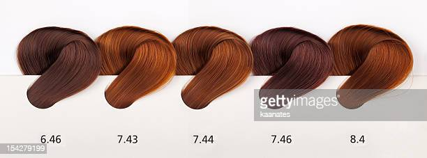 hair dye color swatches - copper tones - highlights hair stock pictures, royalty-free photos & images