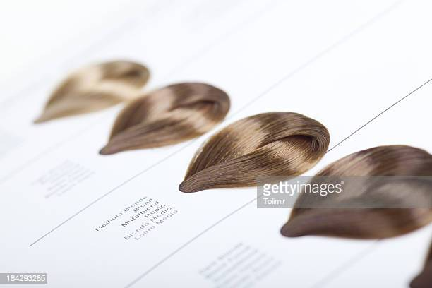 hair dye color swatches - hair colour stock pictures, royalty-free photos & images