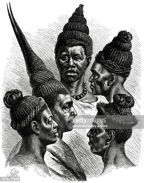 Hair fashions of the Maschukulumbe Southern Africa Illustration 1885