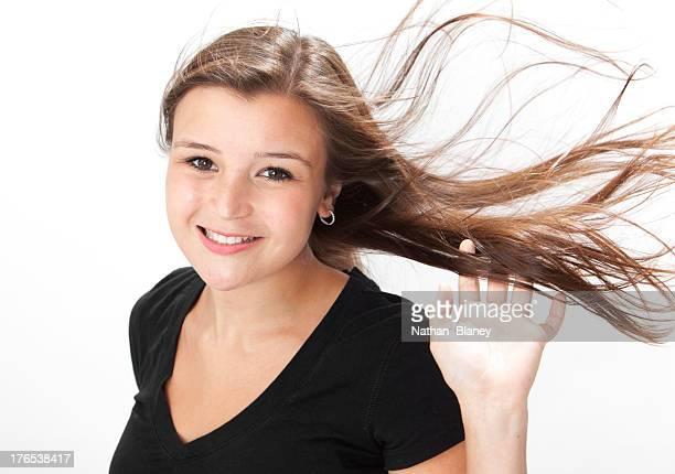 Hair flying