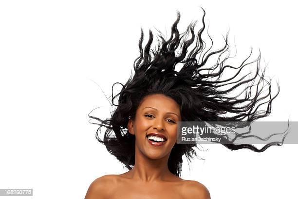 Hair in the air.