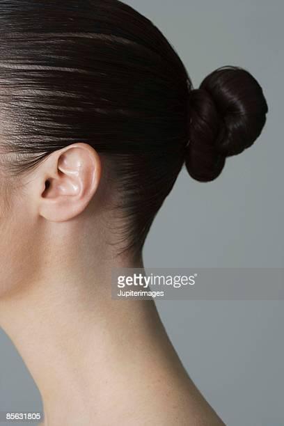 Hair of woman in bun